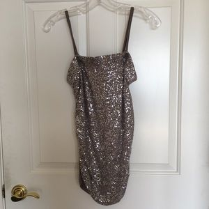 Taupe sparkly sequin strapless tube INC top